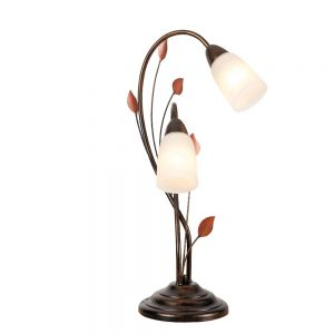 Tischleuchte im Florentiner Stil - Metall - Alabasterglas -  Brauntöne