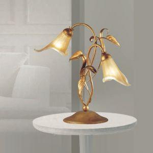 Tischleuchte im Florentiner-Stil - Gold mit Teilen in Antik-Gold