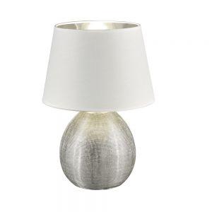 Tischleuchte Luxor Vase Silber, Schirm Weiß, H 35cm