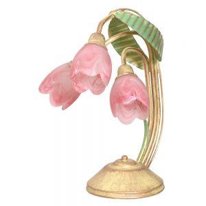 Tischleuchte Malwa 3-flammig mit Blüten