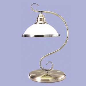 Tischleuchte Metall in Bronze mit weißem Opalglas