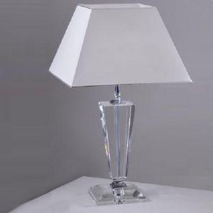 Tischleuchte mit Kristallglas, verchromt, Höhe 63cm 63,00 cm, 38,00 cm, 38,00 cm