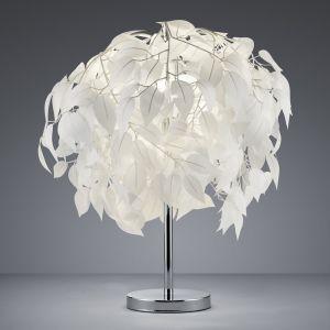 Tischleuchte mit schmuckvollen Blättern weiß, Ø 45 cm