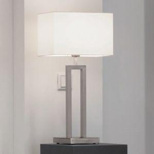 Tischleuchte mit Stoffschirm creme - Höhe 63cm - Chrom , Chrom
