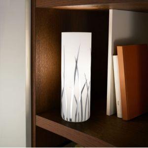 Tischleuchte mit weißem Dekorglas, Dekor chrom, mit Schnurzwischenschalter