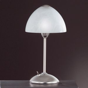 Tischleuchte in Nickel-matt/Chrom, Glas Alabaster-Optik