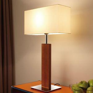 Tischleuchte Piolo 70 cm, Chintz-Schirm, Holzständer, Nickel-matt Nickel-matt, matt