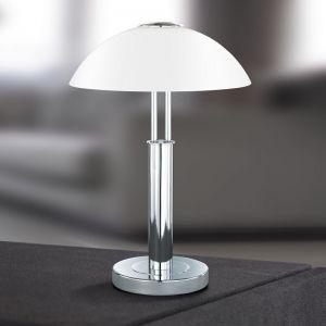 Tischleuchte Prescot mit Touchdimmer, Chrom mit Opalglas silber/weiß, Chrom