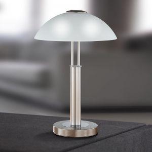 Tischleuchte Prescot mit Touchdimmer, Nickel-matt mit Opalglas stahlfarbig/weiß, Nickel-matt