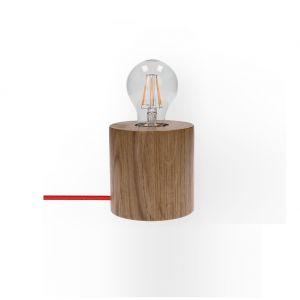Tischleuchte Trongo Ø 10cm, Holz Eiche Kabel wählbar