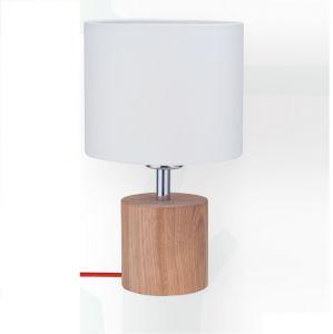 Tischleuchte Trongo mit Stoffschirm Ø 10cm, Holz Eiche Kabel wählbar