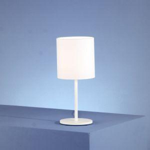 Tischleuchte in weiß mit Chintzschirm weiß - Höhe 36cm