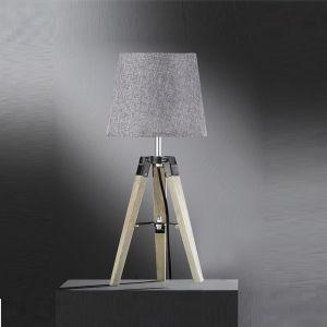 Tischleuchte, Dreibein Holzfuß, Schirm grau, Höhe 46cm, LED geeignet