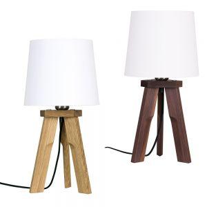 Tischleuchte, Dreibeinig, Schirm, Weiß, Holz, Eiche o. Nussbaum