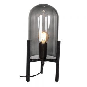Tischleuchte, Glas, für LED Leuchtmittel E14, Schwarz schwarz, rauchfarben