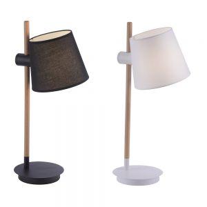 Tischleuchte, Holz, Stoffschirm, höhenverstellbar, weiß o. schwarz
