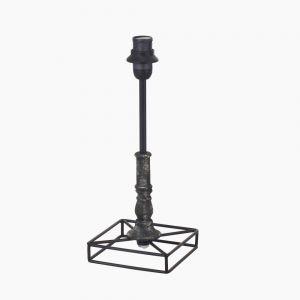 Tischleuchtenfuß im Vintage-Stil - Holz und Stahl - Braun-Patina - Für E14 Leuchtmittel 40 Watt