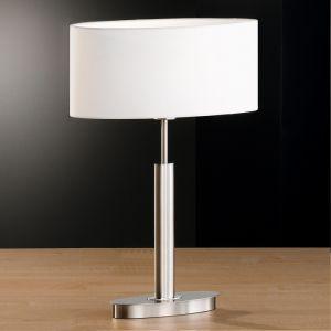 Tischleuchte, oval, Nickel, Schnurschalter, 53cm hoch, Schirm Weiß weiß