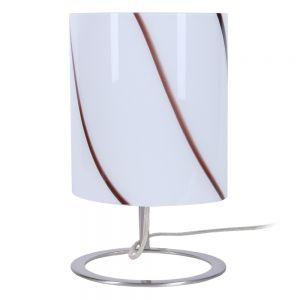 Tischleuchte, rund, modern, Dekor Glasschirm Streifen, Schnurschalter