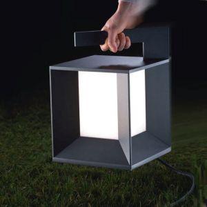 Transportable LED-Laterne, Aluminiumguss anthrazit