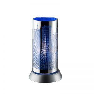 Trendige Tischleuchte in Chrom mit Skyline - blau blau/chrom