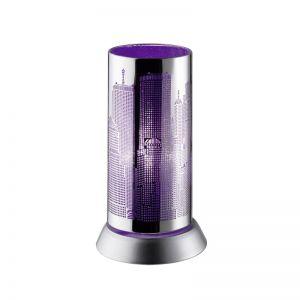 Trendige Tischleuchte in Chrom mit Skyline -  violett chrom/violett