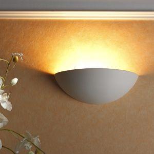 Unlackierte Gipswandleuchte 31cm mit indirektem Lichtaustritt - zur Bemalung geeignet