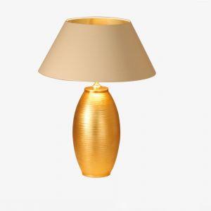 Vasenleuchte Schirm Strichlack creme/ innen gold  Ø 55cm