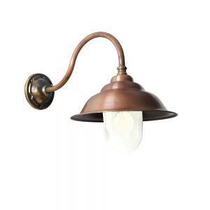 Wandlampe  aus Bronze und Kupfer gerade oder schräg