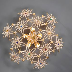 Wandleuchte 5-flammig - Blattgold weiß/Swarovski-Kristalle
