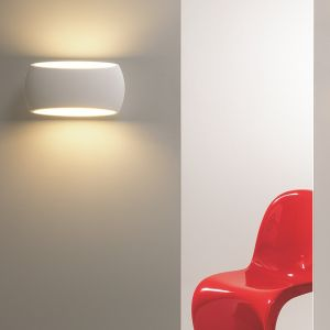 Wandleuchte, Up & Down, Gips, ovale Form, LED Lampe einsetzbar