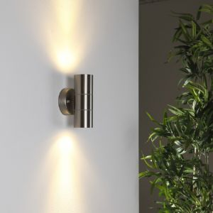 LHG Wandleuchte Edelstahl mit Lichteffekt, 2 x Power LED 3Watt