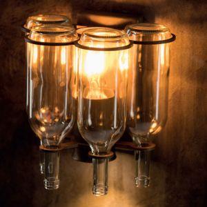 Wandleuchte Eisen-rostig mit 4 Glasflaschen