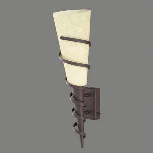 LHG Wandleuchte in Fackeloptik aus Scarvoglas im Landhausstil inklusive 4W E14 LED Kerze