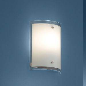 Wandleuchte Größe 22 x 17cm aus satiniertem Glas für 1x E27 53W 1x 53 Watt, A++ - E