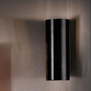 Wandleuchte hochglänzend Schwarz in 75-, 37-, 25- oder 18cm Höhe