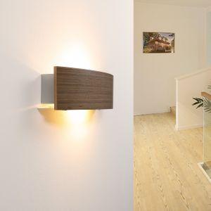 Wandleuchte Holz-Optik, E27 Fassung für LED-Leuchtmittel, Glas matt