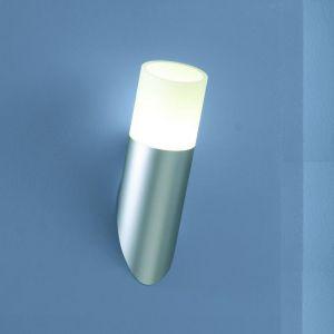 Wandleuchte in kurzer Fackel-Optik  in titan-silber mit mattem Opalglas