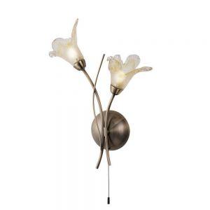 Wandleuchte Lily in Messing Antik mit floralen Gläsern