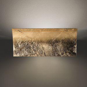 Wandleuchte Länge 40cm in Blattsilber silber, Blattsilber