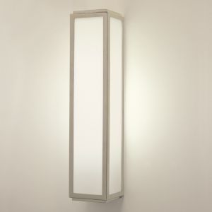 Wandleuchte Mashiko, eckig, Opalglas, Chrom, LED geeignet, Länge 36 cm