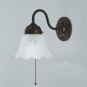 Wandleuchte in Messing-Antik mit geätztem Glasschirm Ø 17cm