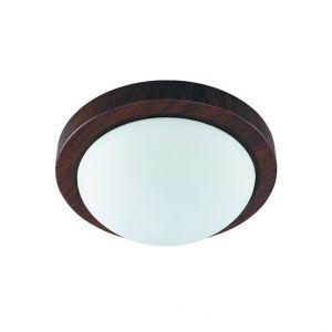 Wandleuchte Metall in Holzoptik und Echtglas, Durchmesser 26cm 1x 40 Watt, 26,00 cm