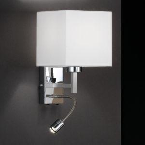 Wandleuchte mit LED-Flexarm, Lampenschirm weiß