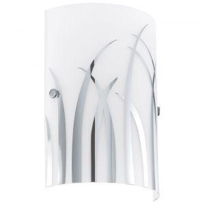 Wandleuchte mit weißem Dekorglas, Dekor chrom