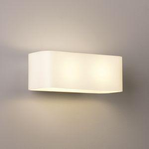 Wandleuchte Obround, Glas weiß, Breite 25 cm, E14, LED geeignet