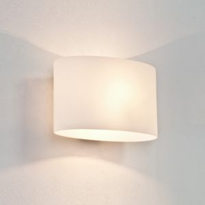 Wandleuchte, Glas weiß, flach, diffuses Licht, dimmfähig, 25 cm breit 25,00 cm