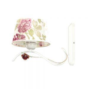Wandleuchte, klassisch, weiß, inkl. 1x LED E27 4,5 W, Blumen, dimmbar