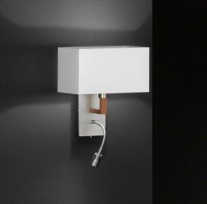 Wandleuchte, LED-Lesearm, eckig, Stoffschirm, Holzdekor