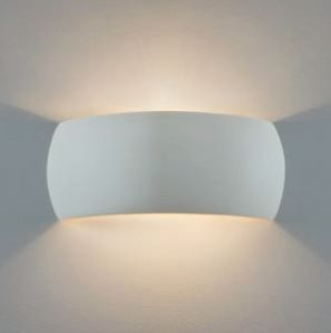 Wandleuchte, Up&Down, Gips, bauchig, 31cm breit, LED Lampe einsetzbar